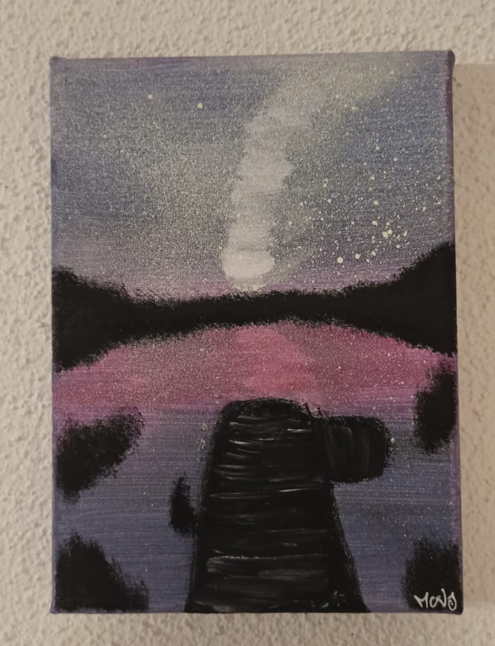 """Lake in the dark"" - Canvas 13 x 18 cm"