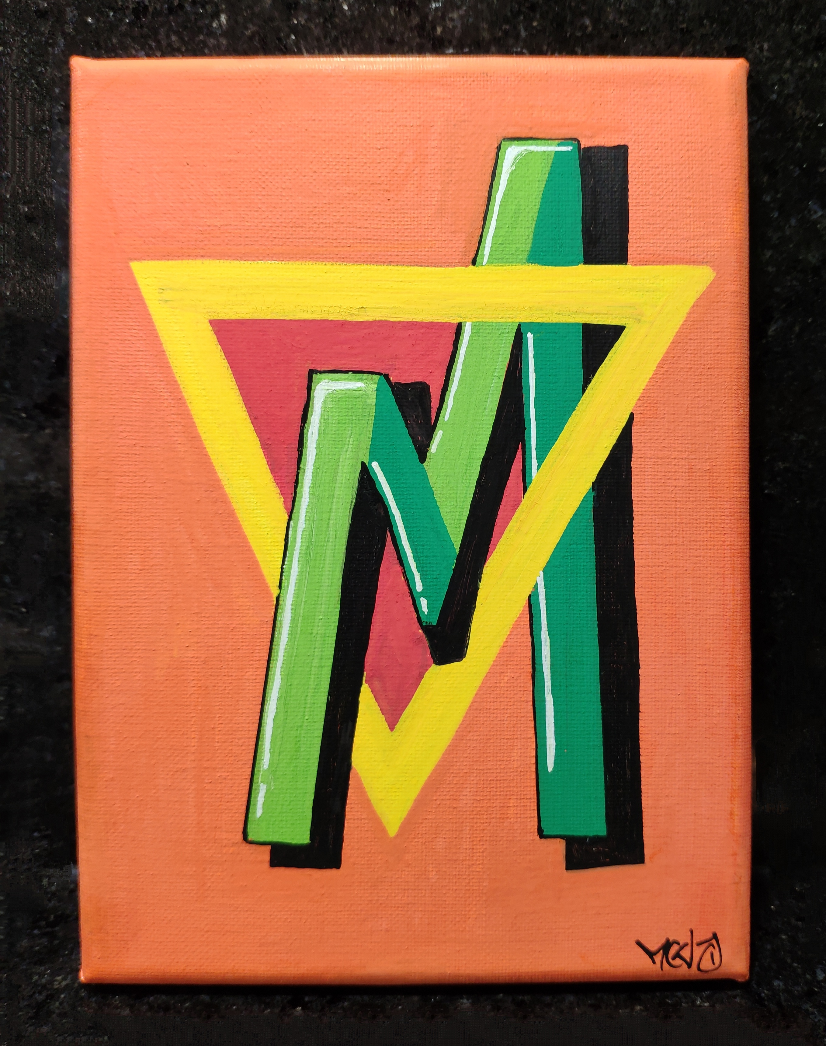 """M""  - Canvas 13 x 18 cm"